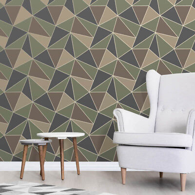 Fine Decor Apex Geometric Metallic Wallpaper Abstract Triangle FD42000 Camo