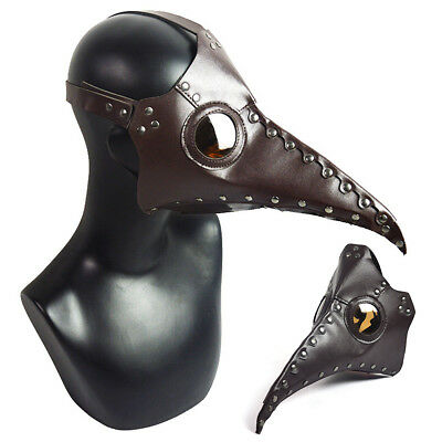 Leather Plague Doctor Cosplay Steampunk Bird Nose Gothic Mask Halloween Costume