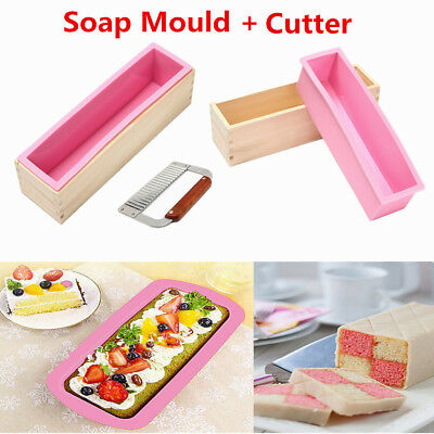 900g Loaf Soap Mould Silicone Wooden Mold DIY Soap Cake Making Tools W/ Cutter
