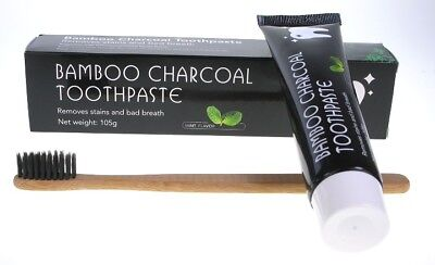 Teeth Whitening Bamboo Charcoal Powder Toothpaste + Bamboo Toothbrush