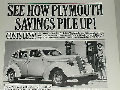 1937 Plymouth ad, Sedan, gas pumps, service station