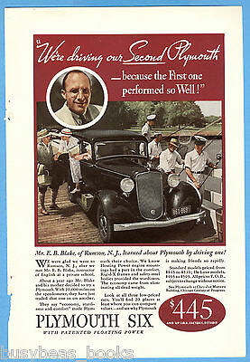 1933 Plymouth advertisement, PLYMOUTH coupe COLOR photo, Mr. E. B. Blake