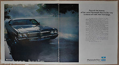 1973 PLYMOUTH FURY 2-page advertisement, Plymouth Fury in the rain, large ad
