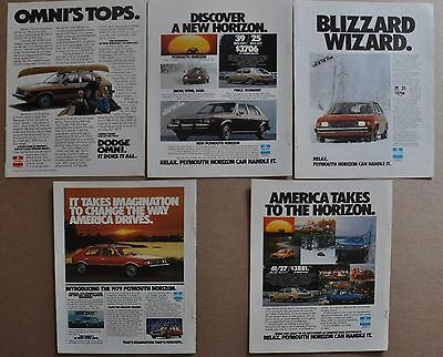 1978-79 PLYMOUTH HORIZON & DODGE OMNI advertisements x5 Chrysler ads small sedan