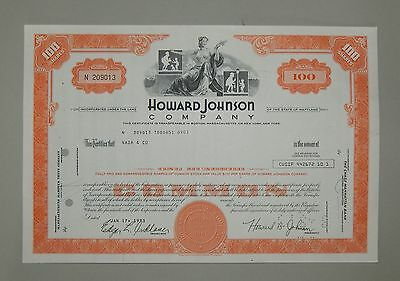"""Howard Johnson Company"" 100 Shares 1973 - common stock Aktie Wertpapier"
