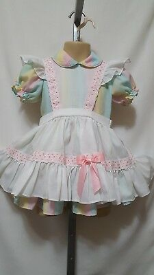 Vintage Toddler Girl Miniworld Mini World 2 Piece Rainbow Dress & Pinafore 3T