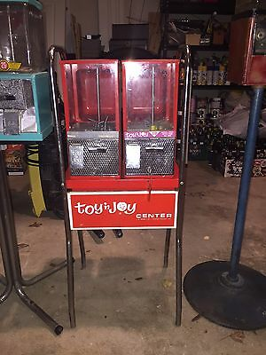 Vintage Toy 'n Joy Center Double Vending Machine On Stand Gumball 10c Dime