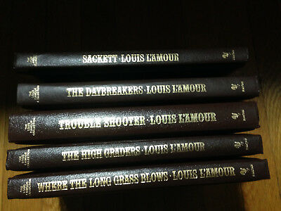 Louis L'Amour Leatherette Hardback Books (5) VG Cond. (USA Seller)