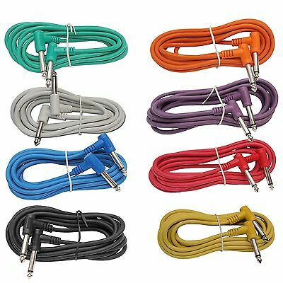 "8 PACK 3 ft foot RIGHT ANGLE 1/4"" guitar instrument to effect pedal patch cables"