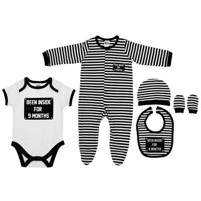 """""""Been Inside For 9 Months"""" Baby Outfit Bag Clothing 5 Piece Set"""