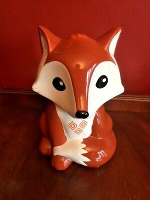 Ceramic FOX Shaped Piggy Bank Coin Money Holder New FAB