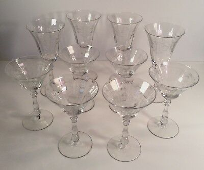 10 Art Nouveau Acid Etched Fluted Optic Stemware~Early 1900s~Goblets/Champagne