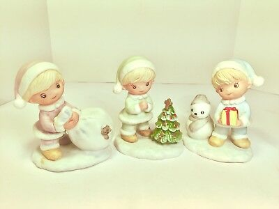 HOMCO Home Interiors Set of 3 #5613 Christmas Figurines Snow Kids Presents Tree