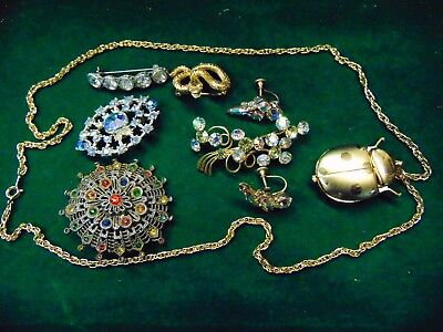 Lot of 9 Vintage & Antique PINS Earrings Beetle NECKLACE Watch