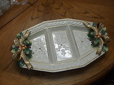 "Fitz & Floyd Christmas SNOWY WOODS 3 Part Relish Serving Tray Large 18"" MINT EUC"