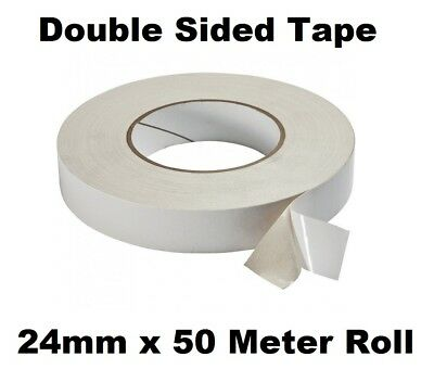 24mm Double Sided Clear Sticky Tape Roll Strong 50M Permanent Adhesive Sellotape