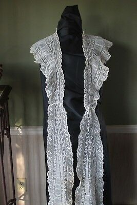 Vtg Antique HM French Val Lace Long Pelerine Early 19th Century Shawl Victorian