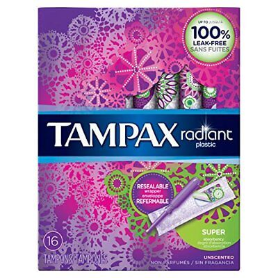 2 Pack Tampax Radiant Plastic Unscented Tampons Super Absorbency 16 Count Each