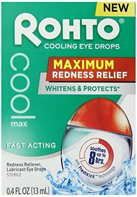 2 Pack Rohto Cooling Eye Drops Maximum Redness Relief, Lubricates, 0.4 Oz Each