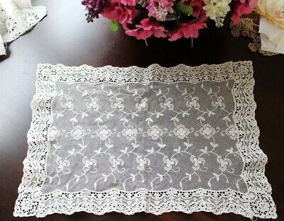 Vtg Antique White Schiffli Chemical Net Lace Tray Cloth Doily