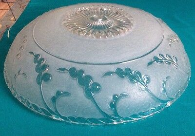 """Vintage ART DECO Frosted Glass Lamp CEILING LIGHT FIXTURE Shade 14"""""""