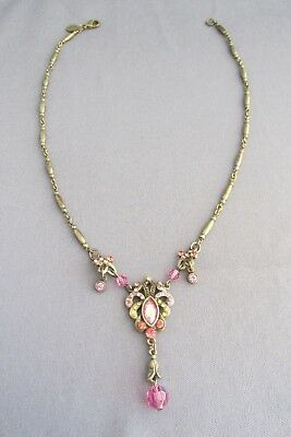 Vintage Sweet Romance Brass Multi Colored Art Deco Bar Link Necklace 19.3G
