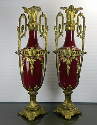 Pair of Antique Empire Style Porcelain and Bronze Mounts Flower Vases French
