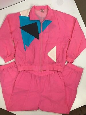 Vtg 80's PUMA Women PINK Blue RETRO Nylon 2pc Geometric TRACK Suit Jacket Pant L