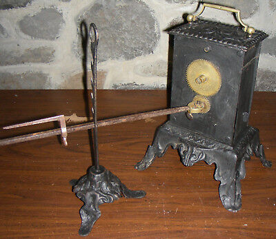 Antique Ornate Cast Iron & Brass Clockwork Spit Roast - 18th or 19th Century.