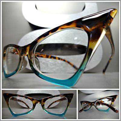 CLASSIC RETRO CAT EYE Style Clear Lens EYE GLASSES Tortoise & Turquoise Frame