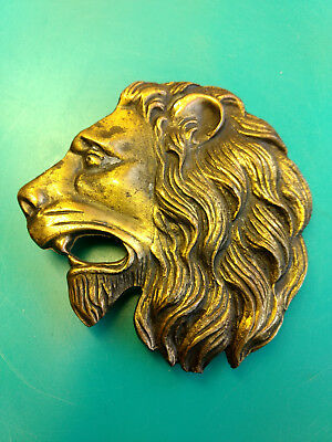"3 1/4"" Collectible Brass 962 Lion Head Mouth Open Belt Buckle"