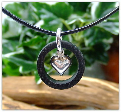 Sterling Silver Heart Ring Pendant Necklace hand crafted in Irish Bog Oak