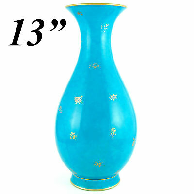"Antique French Sevres Porcelain Large 13"" Tall Vase Dated 1889 Celeste Blue Gold"