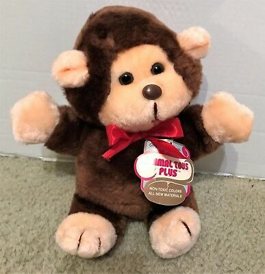 1981 Animal Toys Plus Monkey Ape Red Bow Tags Mint