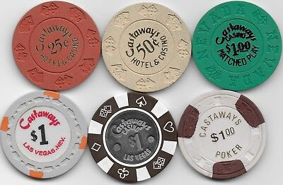 6 Different Casino Chips From CASTAWAYS CASINO-Las Vegas, Nv.-Closed 1987