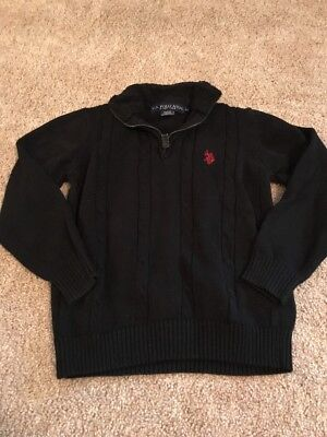 US Polo Association Youth Boys Black Knit Colored Sweater Size Medium
