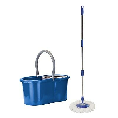 360 Degree Spinning Easy Clean 2X Micro Fibre Extendable Mop and Bucket Blue Set