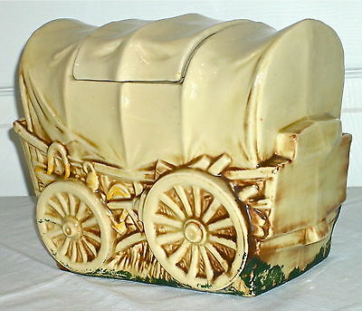 COVERED WAGON COOKIE JAR Vintage 1960's Western Pottery Cookie Jar by McCoy/USA