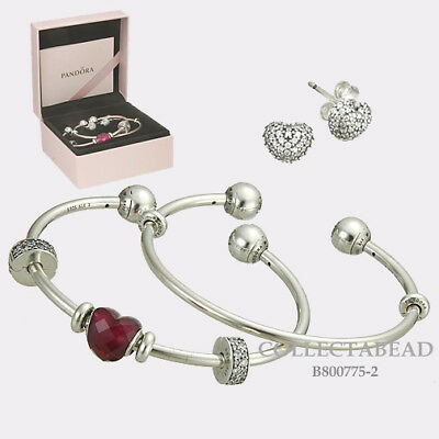 Authentic Pandora Silver Be Mine Bangle Gift Set B800775-2  Valentine's Day 2018