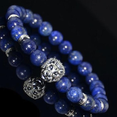 UK Gold/Silver Lion Blue Lapis Lazuli Gemstone Bracelet Calm Anxiety Stress