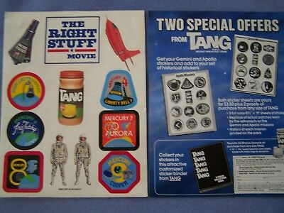 1984 The Right Stuff Movie Stickers & Tang Premium Offer & Flight Summary Unused