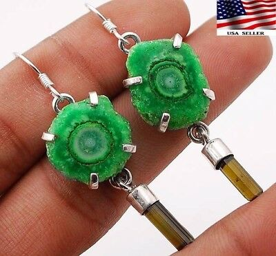 9g Natural Green Tourmaline 925 Solid Sterling Silver Earrings Jewelry ,A2-3