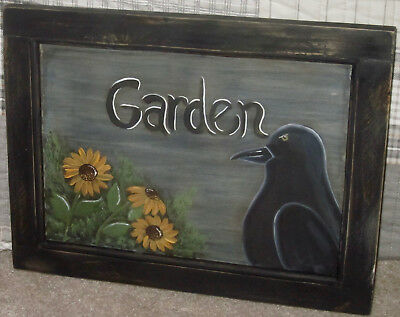 *~*primitive*~* Hp Folk Art Prim Crow *~* Sunflowers *~* Garden *~* Door Panel