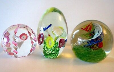 Lot of 3 Vintage Art Glass Paperweights