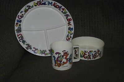 Vintage DISNEY Childs SET Divided PLATE  CUP  BOWL Kids SUPERSEAL