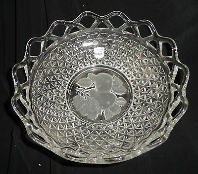 Imperial Glass Co. Crocheted Crystal Lace Edge Bowl & Imprinted Fruit