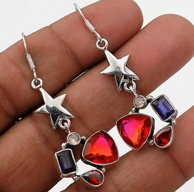 "8CT Star-  Tourmaline Quartz 925 Solid Sterling Silver Earrings Jewelry 2""Long"