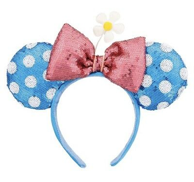 Disney Parks Minnie Mouse Bow Flower Polka Dot  Sequin Ears Headband NEW