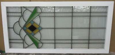 """LARGE OLD ENGLISH LEADED STAINED GLASS WINDOW Beautiful Geometric 21.5"""" x 40.5"""""""