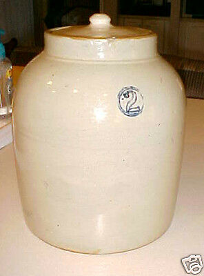 Vintage 2 Gallon Stoneware Crock~Cobalt Blue +Lid~Antique Tennessee Pottery~Red